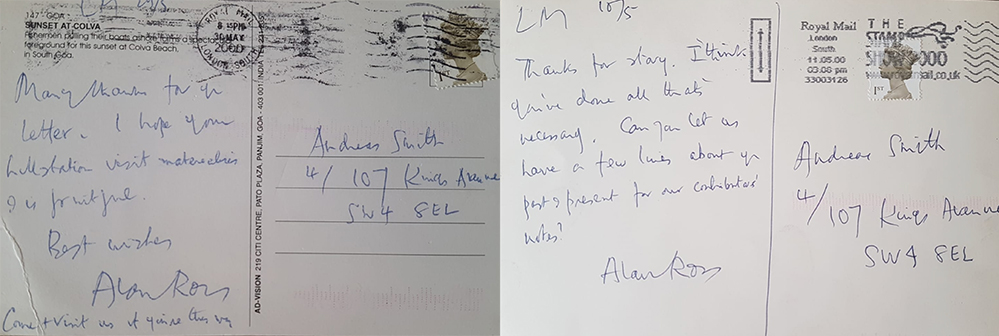 Alan Ross's handwritten postcards at MONK art magazine